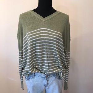 Lou&Grey Army Green Sweater V neck Striped Medium
